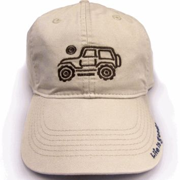 "All Things Jeep - Life is Good Chill Cap - Native Jeep on ""Bone"" Hat"