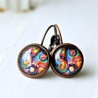 paisley drop earrings, lever back, colorful, boho, bohemian, psychadelic, cabochon