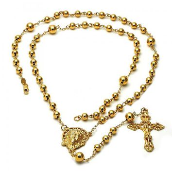 Gold Layered 5.210.001.28 Large Rosary, Jesus and Crucifix Design, Polished Finish, Golden Tone