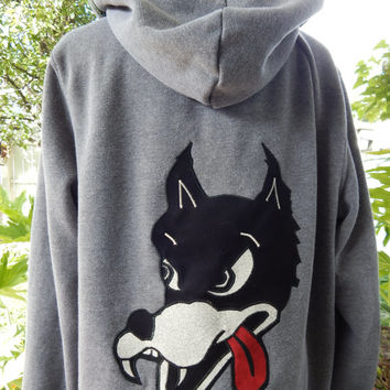 Mens Upcycled Zip Up Gray Grateful Dead DIre Wolf Size L Large Hippie clothes, hoodie, recycled hoodie, zip up hoodie, guys hoodie
