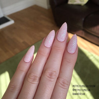 Pastel pink glitter stiletto nails, Nail designs, Nail art, Nails, Stiletto nails, Acrylic nails, Pointy nails, Fake nails, False nails