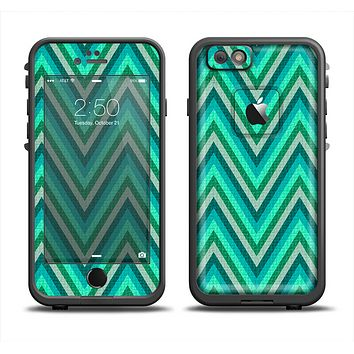 The Vibrant Green Sharp Chevron Pattern Apple iPhone 6 LifeProof Fre Case Skin Set