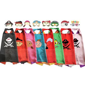 Cool Kids Pirate Costume Capes with Masks Dress-up Halloween Birthday Party Captain Jack Pirate boy CosplayAT_93_12