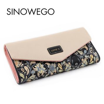 New Fashion Women Wallets Luxury Brand Leather Wallet Female Card Holder Coin Purse Wallet Women Bag Wristlet Small Bag Envelope