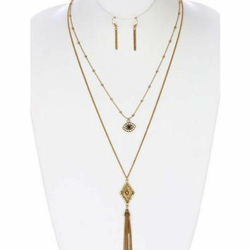 Gold Layered Evil Eye Long Necklace