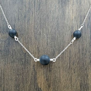 Black Onyx Aromatherapy Necklace Essential Oil Diffuser Necklace