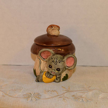 Enesco Missy Mouse Sugar Bowl Vintage Mushroom Mouse Jam Condiment Jar Keepsake Trinket Container 1960s Kitschy Decor Candy Jewelry Jar