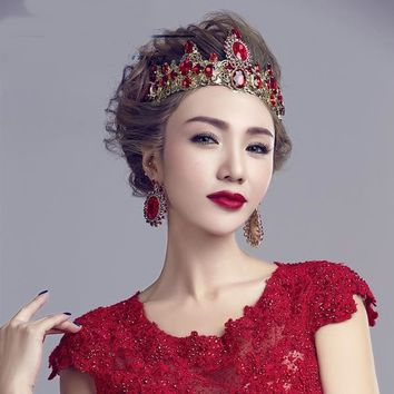 Baroque Crown Bridal Jewelry Red Wedding Tiara Cosplay Costume