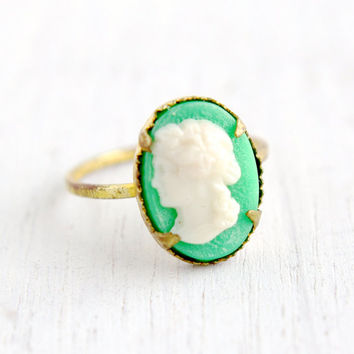 SALE- Vintage Cameo Brass Czech Ring- 1930s Lucite Cameo Made in Czechoslovakia Size 3 1/4 Off White on Green Costume Jewelry