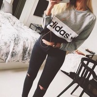 """Adidas"" Letter Print Women's Pullover Sweater Hoodies Great Gifts"