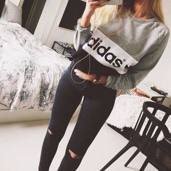 """""""Adidas"""" Letter Print Women's Pullover Sweater Hoodies Great Gifts"""