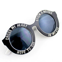 Cross my heart hope to die Round Circle Sunglasses