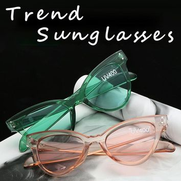 Transparent Frame Cat Eye Sunglasses Women Brand Designer Vintage Rivet Cateye Sun Glasses Female lunettes de soleil femme