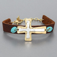 Dark Brown Leather Gold Silver Layered Cross Turquoise Stone Religious Vintage Bracelet