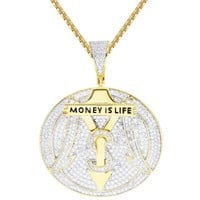 Iced Out Round Money is Life Rich Car Logo Dollar Pendant Chain