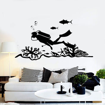 Vinyl Wall Decal Scuba Diving Center Diver Ocean Stickers Murals Unique Gift (ig4706)