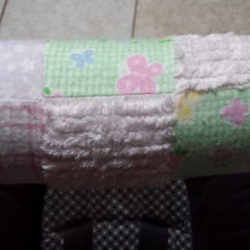 Pink Flannel Patchwork Print Padded Baby Carrier Handle, Infant Car Seat Handle Cover Pad