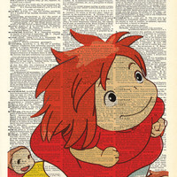 Ponyo And Her Sisters Studio Ghibli Original Print on an Antique Upcycled Bookpage
