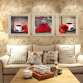 Classical  Coffee Rose Posters and Prints for Kitchen Canvas painting  3 piece Modular Paintings On The Wall Art  Cuadros Decor