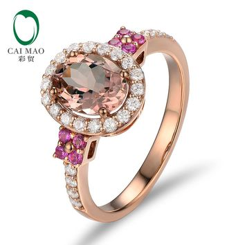 Unplated 18K/Au750 Rose Gold 1.80ct Natural Morganite 0.55ctw Diamonds & Pink Sapphires Engagement Ring