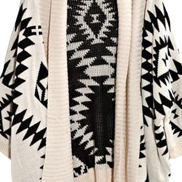 Dear-Lover Women's Geometric Long Sleeves Oversized Tribal Aztec Print Open Wrap Front Cardigan One Size Ivory