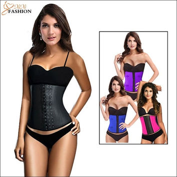 FeelinGirl Latex Waist Cincher Waist Training Corsets and Bustiers Steel Boned Corselet Sport Rubber Shaper Slimming Belt Underbust = 1697097028