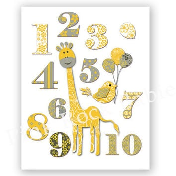 Neutral nursery wall art playroom decor number poster yellow grey print kids room art baby girl baby boy giraffe artwork baby shower gift