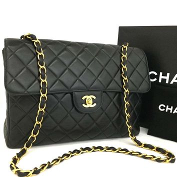 CHANEL Jumbo Quilted Matelasse Lambskin Chain Shoulder Bag Black /p259