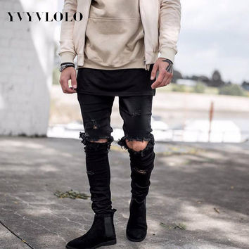 YVYVLOLO Men's Jeans Represent Brand Clothing Designer Jeans Rock Star Kanye West  Skinny Denim Robin Ripped Jeans For  Men