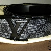 Louis Vuitton Black Damier Graphite Belt 90/36