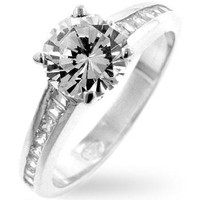 Cubic Zircon Engagement Ring, size : 05