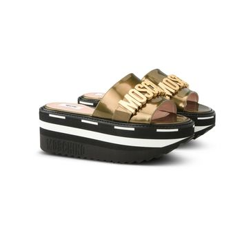 Bronze Tank Wedge Slides by Moschino