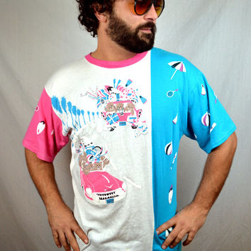 RARE Vintage Oversized Puffy Spumoni 1980s Teddy Bears on Vacation Tee Shirt