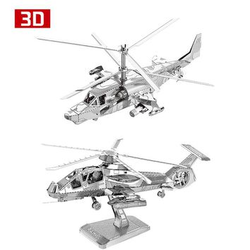 2pcs 3D Metal Nano Puzzle KA-50 Aircraft RAH-66 Stealth Helicopter Assemble Model Kit DIY 3D Laser Cut Jigsaw Toy