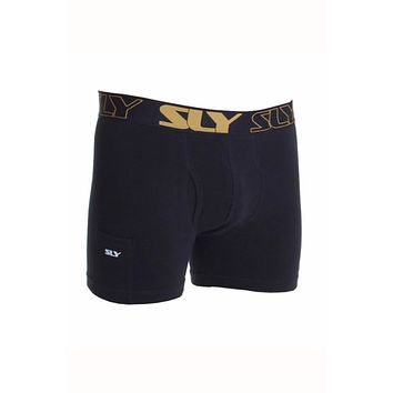 Sly Black & Gold Solid Boxer Trunk