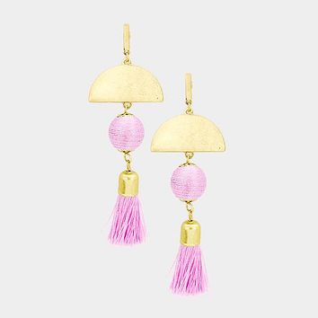 Half Round Metal Disc Thread Ball Tassel Dangle Earrings