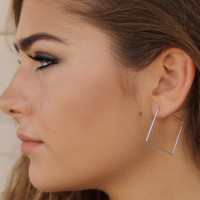 Dare To Be Square Silver Square Earrings