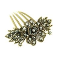 Fancy Faceted Rhinestone Flower Style Fashion Jewelry Hair Comb in Rose Gold Tone - Approx. 3'' Length