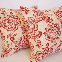 2 Decorative Throw Pillow Covers - Red and Beige Floral Print - 16 x 16 inches Cushion Cover Accent Pillow
