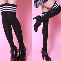 Hot Sexy Womens Girls Thigh High Striped Cotton Socks Over Knee Stockings Black
