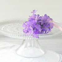 Vintage Cut Glass Pedestal Cake Stand, Tea Parties, Cake Plate, Wedding, Clear Glass, Housewarming Gift, Regency