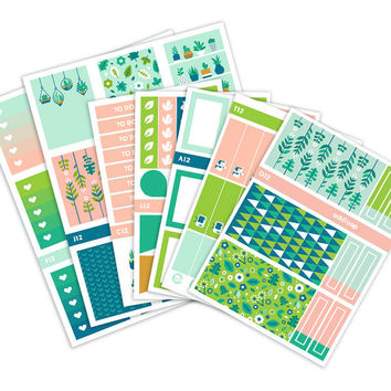 Plant Party Planner Stickers Weekly Kit - Vertical Erin Condren