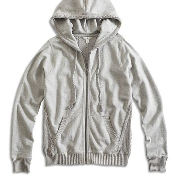 Lucky Brand Sweater Mixed Zip Up Womens - Heather Gray