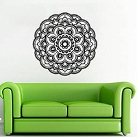 "Mandala Wall Decal Namaste Indian Yoga Stickers Vinyl Decals Flower Art Mural Home Decor Interior Design Bedroom Bohemian Decor NV233 (17"" Tall x 17"" Wide)"