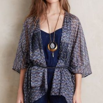 Elevenses Shadow Stripe Kimono in Blue Motif Size: