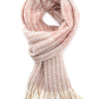FOREVER 21 Multi-Stripe Fringed Scarf Pink/Cream One