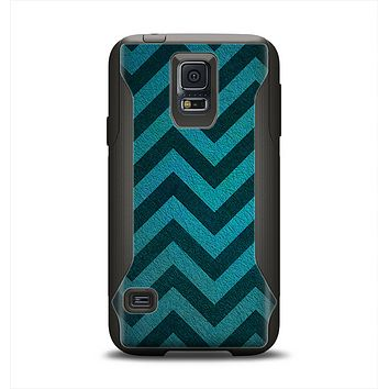 The Teal Grunge Chevron Pattern Samsung Galaxy S5 Otterbox Commuter Case Skin Set