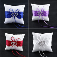 Double Heart Crystal Ring Bearer Pillow Cushion [7983587335]