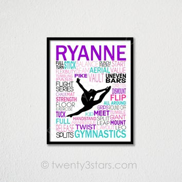 Gymnastics Split Leap Typography Wall Art - Choose Any Colors - twenty3stars
