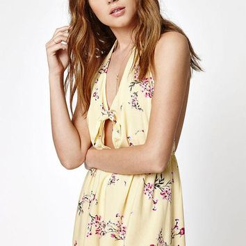 LMFONDI5 Kendall and Kylie Halter Knot Front Romper